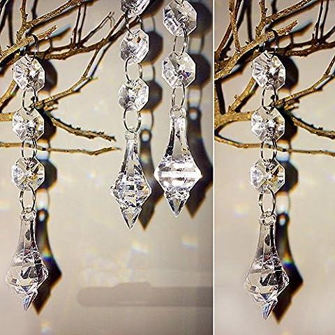 10pcs Suspendu Perle de cristal acrylique Guirlande pendentif goutte d'eau Décoration Mariage Fête