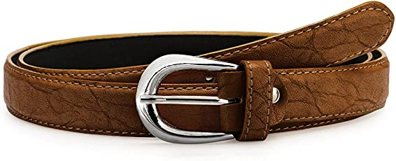 Verceys Women's Brown Leather Finish Belt For Women - Free Size Fit Up Tp 36 Waist Size