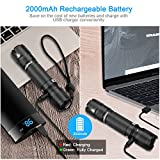 AUOPRO Rechargeable CREE LED Torch Super Bright, 800 Lumens Powerful Tactical Flashlight Waterproof Small Pocket Flash Light for Home, Dog Walking, Camping - 5 Modes, 18650 Battery Included