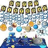 Tacobear 32 Piezas Sistema Solar Fiesta Cumpleaños Decoraciones Colgantes Guirnaldas Cumpleaños Bandera Universo Tapiz para Infantiles Niños Cumpleaños Fiesta Universo Decoración