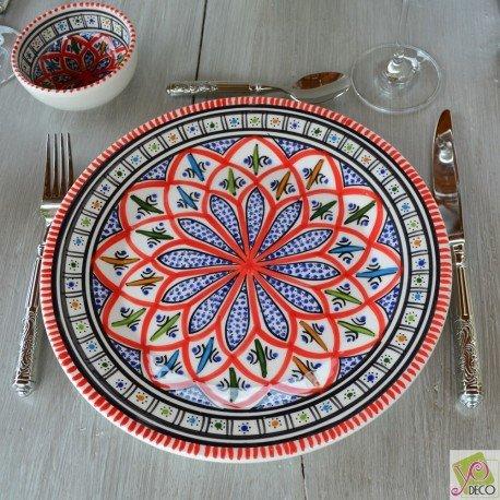 Lot de 6 assiettes plates Bakir rouge - D 24 cm