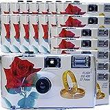 """20x PHOTO PORST Hochzeitskamera / Einwegkamera """"rote Rose + Ringe"""" (deutsche Bedienungsanleitung, mit Blitzlicht und Batterien, je 27 Fotos, ISO 400 Fuji) Bild"""