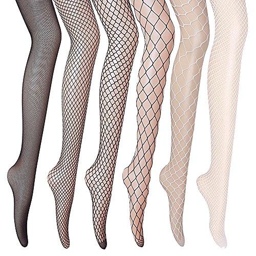 GVOO Netzstrumpfhosen, 6 Stück 6 Stile Sexy Fischernetz Strumpfhosen für Damen Kostüm Fasching – 4× Schwarze + 2× Weiße (Fischnetz-strümpfe)