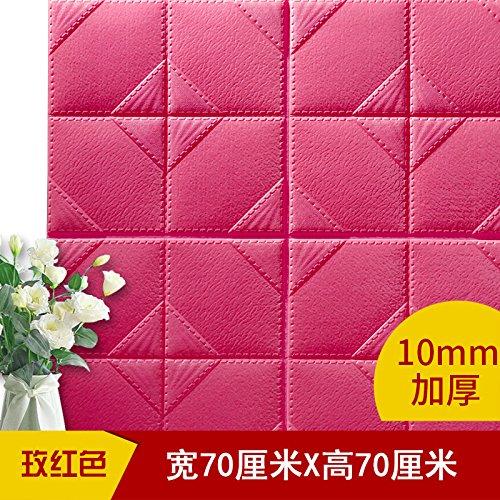Tapete-Selbstklebende Wasserdicht Wallpaper Leder Weich 3D-Schaum Nachweis Wand 6 Pcs Three-Dimensional Wandaufklebern, Rose Rot, 70Cmx70Cm (Dimensional Schaum)