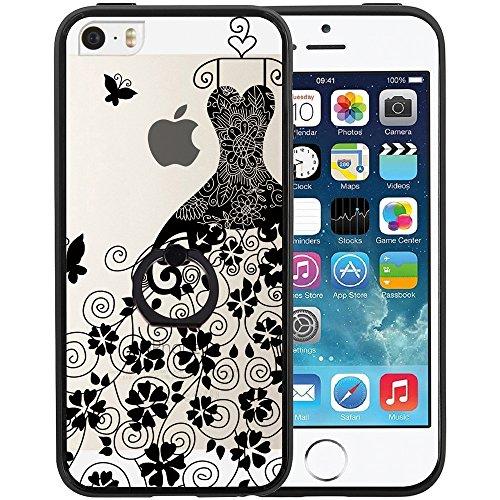Coque iPhone SE, TrendyBox Transparent Noir Givré Anti-rayures Rotation Bague Case pour iPhone 5/5S/SE avec verre trempe film de protection (Mandala Fleurs) 1027
