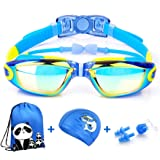 Swim Goggles, Firesara Kids Swimming Goggles for Boys and Girls- Adjustable Straps, Silicone Eye Seal, Leak proof UV Protecti