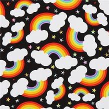 Tela negra con arcoiris nubes de Timeless Treasures