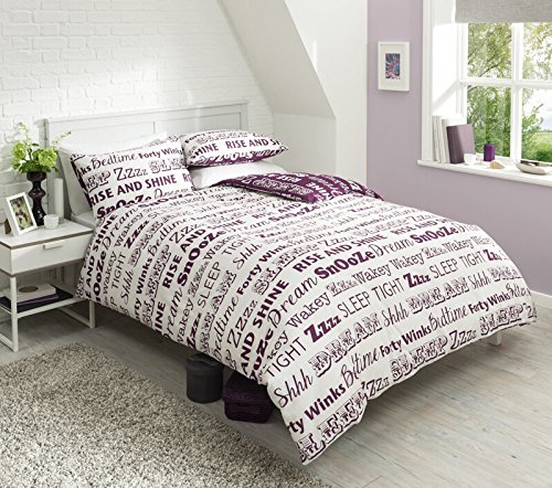 new-sleep-text-duvet-set-quilt-cover-pillowcase-bedding-poly-cotton-3-sizes-3-colours-purple-king-by