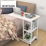 ZHIRONG Mobile Laptop Tisch, Arbeitstisch, Sofa Schrank Esstisch 80 * 40 * 76,2 cm (Farbe : Weiß)