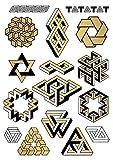 TATATAT das Streetartlabel aus Berlin Temporäre Tattoos #002 Impossible Geometry by D. Bizer Tätowierungsaufkleber Tattoo Tat Damen Herren Körperkunst Aufkleber