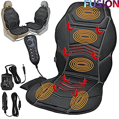 HEATED BACK SEAT REMOTE CONTROL MASSAGE CHAIR CAR HOME VAN RELAX CUSHION (Fusion) (TM) produced by Fusion - quick delivery from UK.