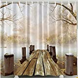 Bathroom Shower Curtain, J-KK Painting Picture Wooden Bridge Bath Curtain Waterproof Fabric for Bathroom Decoration 180x180cm including 12 hooks