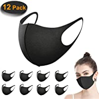 12 Stück Mundschutz Maske, ACMETOP Staub Gesichtsmaske, Fashion Unisex Face Masks, wiederverwendbare und waschbare Maske zum Laufen, Radfahren, Skifahren, Outdoor-Aktivitäten (schwarz)