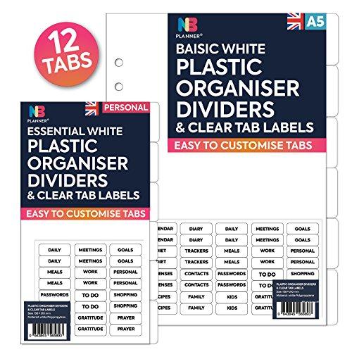 NBplanner mit 12Kunststoff mit Trennwände und klare Etiketten auf Englisch Filofax kompatibel A5