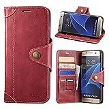 Samsung Galaxy S7 Edge Hülle, Lensun Handyhülle Handytasche Samsung Galaxy S7 Edge (5.5 Zoll) Leder Tasche Huelle Flip Case Ledertasche Schutzhülle – Wein Rot (S7E-GT-WR)