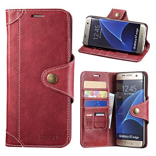 Samsung Galaxy S7 Edge Hülle, Lensun Handyhülle Handytasche Samsung Galaxy S7 Edge (5.5 Zoll) Leder Tasche Huelle Flip Case Ledertasche Schutzhülle – Wein Rot (S7E-GT-WR) (Leder Edge Tasche)