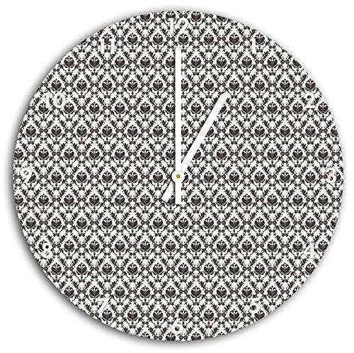 Modèles fleurs françaises Noir, horloge murale diamètre 30 cm avec aiguilles et cadran pointus blancs, article décoratif, horloge design, composite alu très belle pour le séjour, la chambre d'enfant, le bureau
