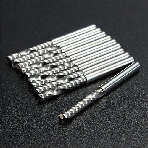 Preisvergleich Produktbild ETGtek 1set 10 X Hochwertige, CNC-Bits einzelne Flöte Spirale Fräser Hartmetall-Schaftfräser Werkzeuge 3,175 X 22mm