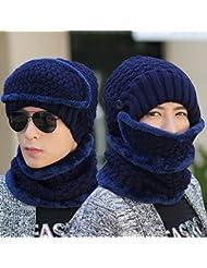 NRSP Los Hombres Sombrero De Invierno Cálido Gorro De Punto De Montaña Equitación Ficha Cap Azul