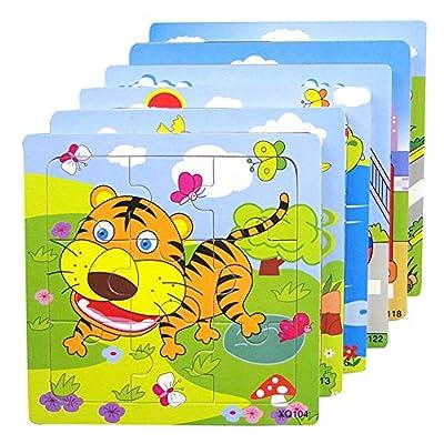 Hibote Pack de 3 cabritos determinados de madera 16 piezas del rompecabezas de rompecabezas, Inteligencia temprana educativos del rompecabezas de los juguetes para niños de los niños por Hibote network technology Co., Ltd