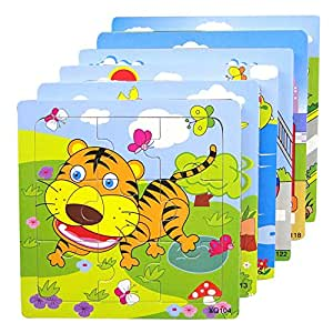 hibote Satz von 3 Holzpuzzle, Kinder frühe pädagogische Lernspielzeug, 9 Stücke bunte Tier Puzzles aus Holz Spielzeug für Kinder Kleinkinder (Random Delivery)