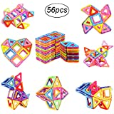 Camande Large Size Magnetic Blocks Building Set For Kids, Magnetic Tiles Educational Building Construction Toys For Boys And Girls With Storage Bag (56pcs)