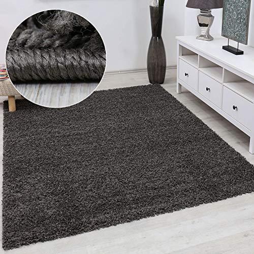VIMODA Prime Shaggy Teppich Farbe Anthrazit Hochflor Langflor Teppiche Modern für Wohnzimmer Schlafzimmer, Maße:40x60 cm -