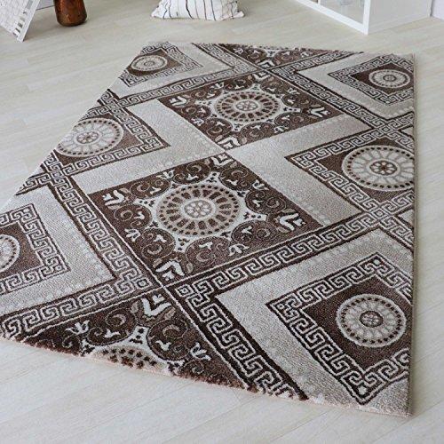 Moderner Kurzflor Teppich Designer Versace Muster Beige Braun Creme & Schwarz Grau Weiß Wohnzimmer (80 x 150 cm, Beige)