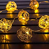 SnowEra 10er LED Dekorationslichterkette Drahtkugel goldfarbig batteriebetrieben mit transparenten Kabel inkl. Batterien
