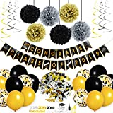 Zonon Bandera de Oro Negro Adornos de Globos,Hanging Swirls Graduation Confetti Black and Gold Balloons Graduation Party Supplies