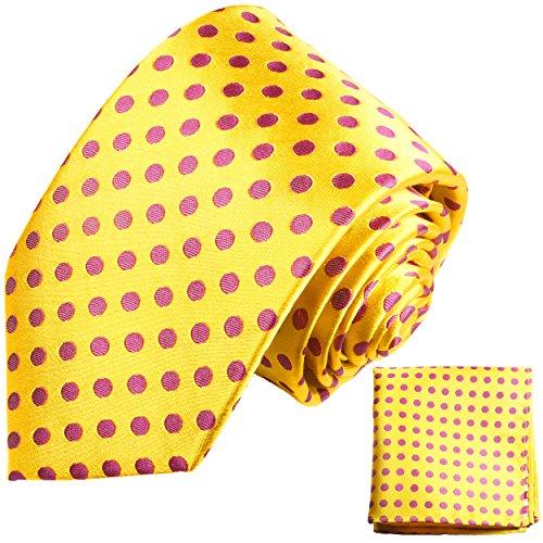 Cravate homme jaune rose pois ensemble de cravate 2 Pièces ( longueur 165cm )