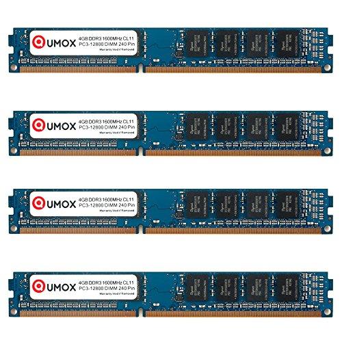 240 Pin Dimm Lp (QUMOX 16GB (4x4GB) DDR3 1600 1600MHz PC3-12800 (240 PIN) DIMM-Speicher)