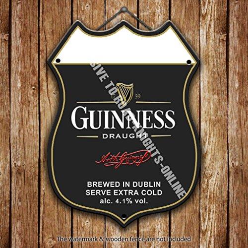 Stahl Keg (Guinness Stout. Dublin. Irische. Irland. Werbung Bar Old Pub Drink Pumpe Badge Brauerei Cask Keg Pint Alkohol schwarz gold ST PATRICKS Harfe