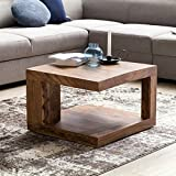 FineBuy Massiver Couchtisch PATAN 60 x 60 x 40 cm Sheesham Massivholz Tisch | Wohnzimmertisch quadratisch mit Ablage | Holztisch Massiv Holz Beistelltisch