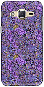 The Racoon Grip printed designer hard back mobile phone case cover for Samsung Galaxy J2. (Lilac Swam)