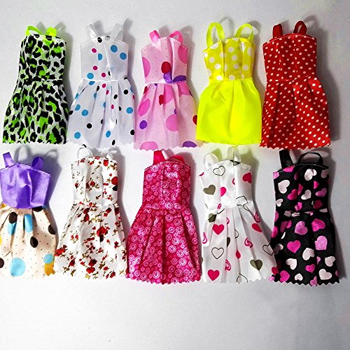 10pcs Multicolor Beautiful Handmade Party Dress Fashion Clothes For Barbie...