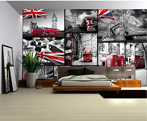 Fototapeten 3d Tapete für zimmer Die Straßen von London Red Bus Kulisse Landschaft Badezimmer Wandbild,150x105cm (Bus-kulisse)