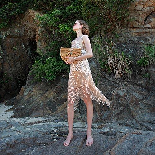 MeiZiZi Kleid Sling Kleid Bestickt Spitzenkleid Strandkleid, Champagne Gold, M (Gold Champagne Kleid)
