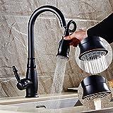 LLPXCC Wasserhahn Die Toilette Bad Küche Haushalts Waschmaschine Waschbecken Amerikanische Schwarz retro können voll heißem und kaltem Wasser ziehen Kupfer Millionen zu drehen gezogen