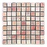 Divero 11 Fliesenmatten Naturstein Mosaikfliesen aus Marmor für Wand und Boden creme-rosa á 29 x 29 cm