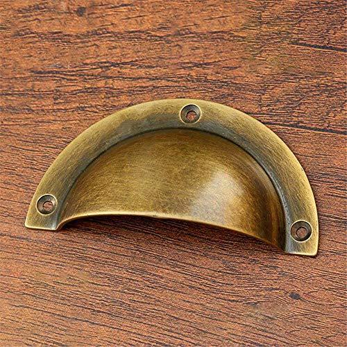 Vintage Küchenschrank Griffe Messing poliert/Antik Bronze massiv Messing Schale Form Cup Pull, Vintage Griffe für Aktenschrank Aktenschränke Schublade Home Decor, Packung mit 6 Stück Schubladenmöbel -