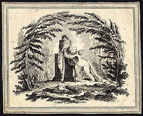 Antique Master Print-CHERUB-MOURNING-PEDESTAL-URN-ca. 1740