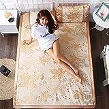 LIANGXI Matte 1,8m Bett 2Meter Double X 1,5X 2,0Stroh Matte Sommer Ice Doppelseitig, 1,2Sommer Faltbar Bambus Matte, 1.0m (3.3 Feet) Bed, Gold (Including Pillowcases)