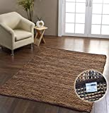 Homescapes - Madras Leather Hemp Rug - Brown - 5 x 8 ft