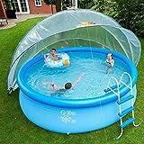 SunnyTent Rund Größe L - 540 x 540 x 270 cm - Überdachung und Windschutz für Schwimmbad -Von Frühling bis Herbst ein warmes und sauberes Schwimmbad ohne Energiekosten - ESTL