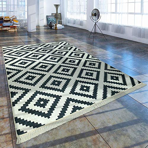Paco Home Moderner Teppich Mit Bedrucktem Trend Rauten Muster Skandi Look Schwarz Weiß, Grösse:140x200 cm Oval -