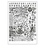 Lovenails XXL Schrift Stamping Schablone I mit Buchstaben und Kalligrafie I Motive: Love Paris Hochzeit #2