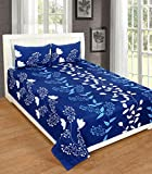 #4: Glace Cotton Double bED Bedsheet, 1 Bedsheet with 2 pillow covers - Blue