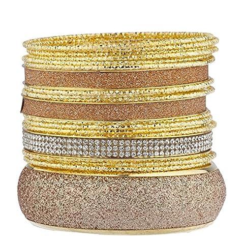 Lux Accessories Lot de bracelets Doré Or rosé Paillettes