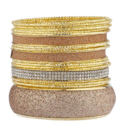 lux-accessoires-dore-or-rose-autocollant-paillettes-nugget-bracelet-multi-lot-lot